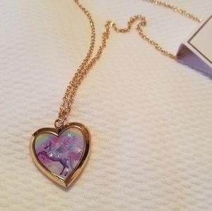 Colorful unicorn locket necklace.
